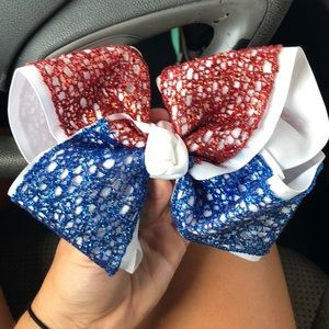 red and blue sparkle bow